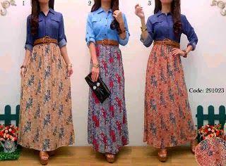 Long Dress Wanita Model Casual Bahan Denim, Plus Chiffon dan Furing (Kode: Flowerly Maxi Denim plus Belt)