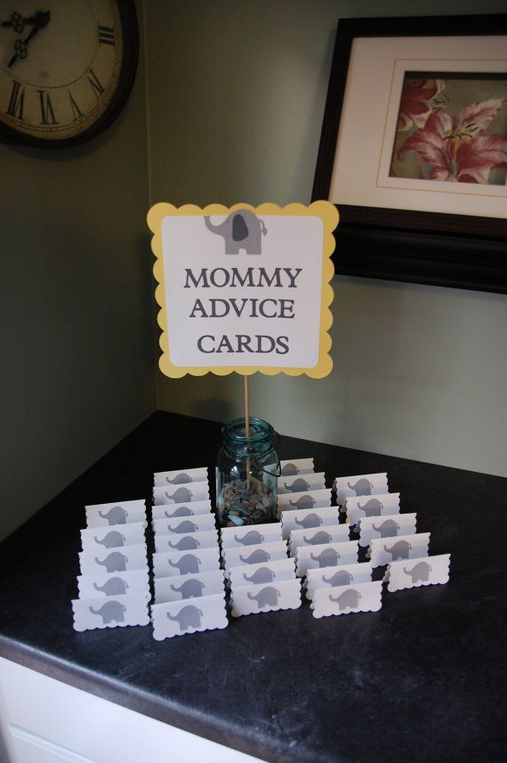 Elephant Baby Shower, Mommy Advice Cards and Buffet Sign                                                                                                                                                                                 More