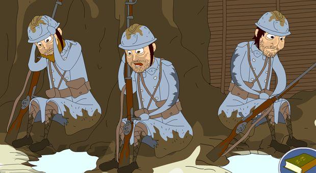 Entre 1914 et 1918, les soldats français, allemands, et bien d'autres, de toutes les nationalités, vivent et se battent dans la boue et le froid. Cette guerre des tranchées, absurde, fera des millions de morts. Suis le parcours de Pierre et d'Hans, deux soldats ennemis : ils vont te raconter ce qu'ils ont vécu pendant ces quatre années épouvantables de guerre.