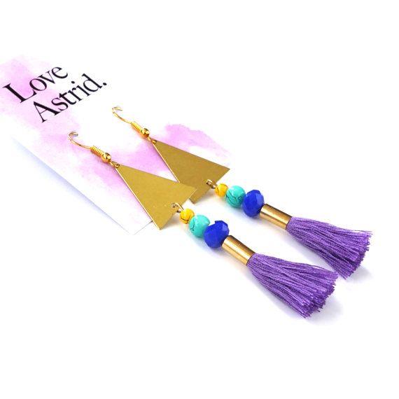 VIOLETA de MINNIE / / púrpura Pendientes de borla por LoveAstrid
