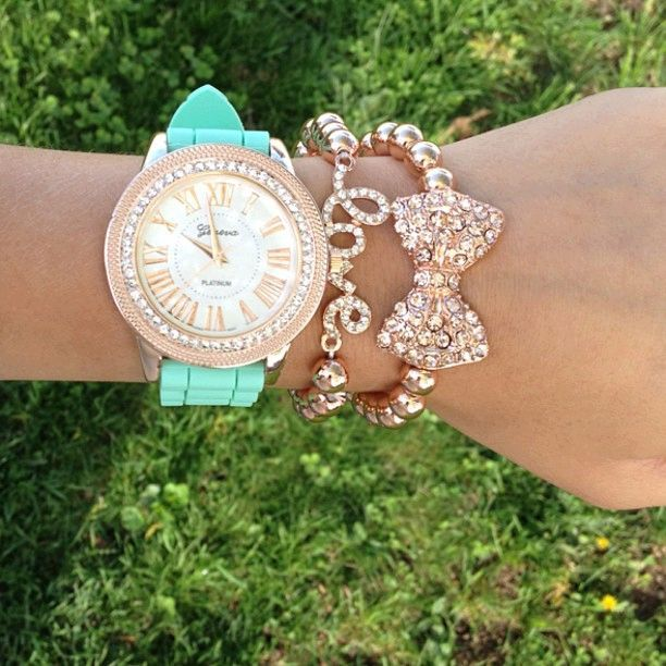 Geneva watch, love bracelet, bow bracelet. Arm Candy!! Find cool watches at http://www.policeauctions.com/tracker.php?Refer=PinPa123430&Id=1324130