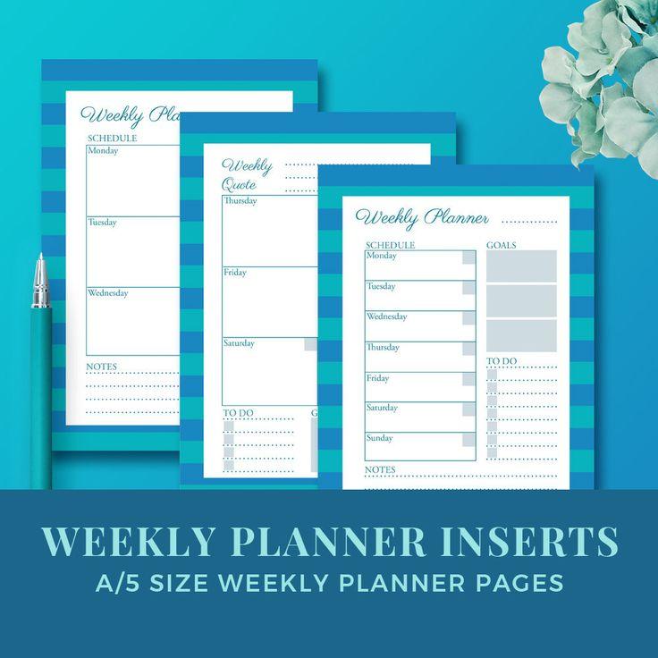 Weekly planner inserts / blog planner inserts / weekly planner printable / MIRAMAR weekly planner kit by JKBlogBrand on Etsy