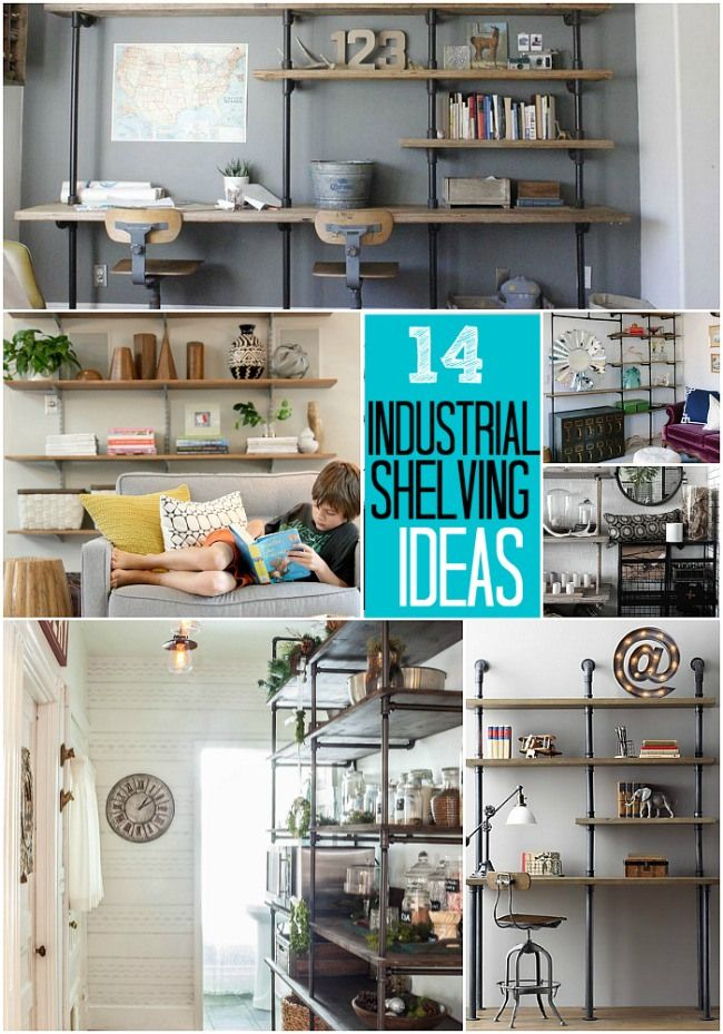 How to Build Industrial Shelves - Beneath My Heart - Could be cool for a closet organization system as well