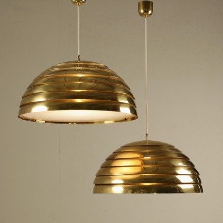 1960s Pair Of Large Brass Pendant Lights With Glass