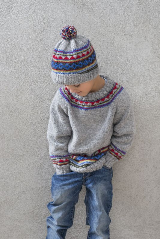 Sweater and hat in Sandnes Mini Alpakka . In sizes 2-12 years.  Pattern and yarn available from www.skdyarns.net