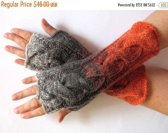 Brown Fingerless Gloves Knit Gloves Winter Gloves by Initasworks