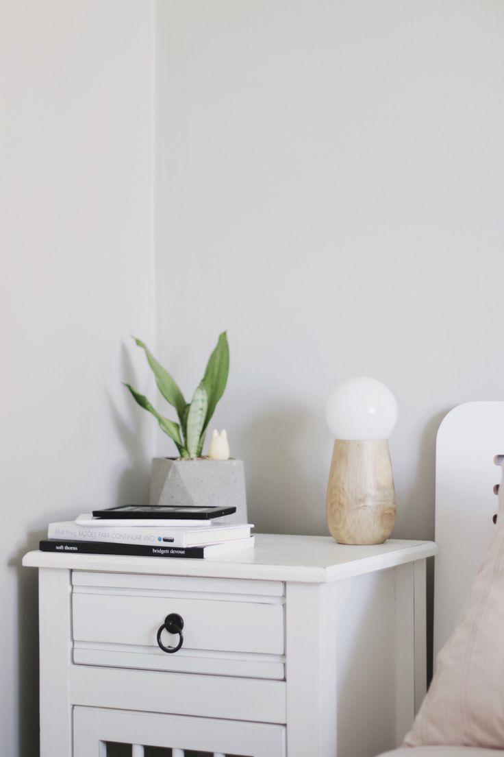 mesa de cabeceira com planta (espada) e livros.