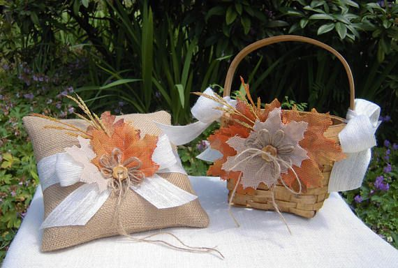 Rustic Ring Pillow and Flower Girl Basket with Burlap Fall Leaves and Faux Wheat, Rustic Flower Girl Basket and Ring Bearer Pillow - RB0168