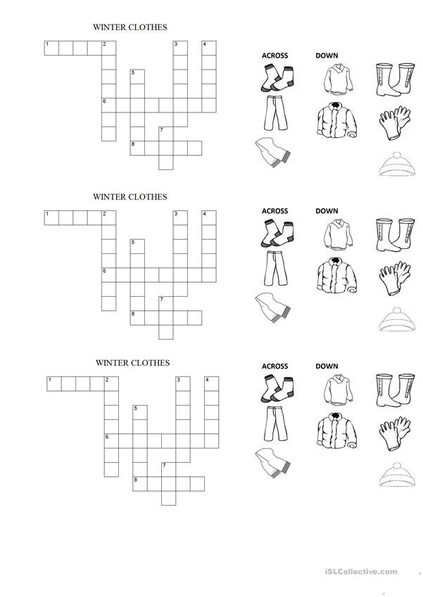 Winter Clothes Crossword Winter Outfits Crossword English Words