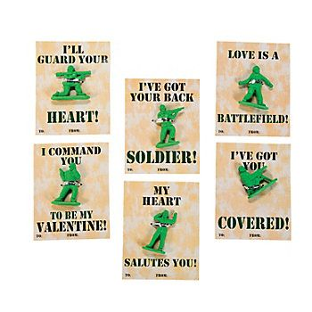 Army Guy Valentine Cards With Erasers