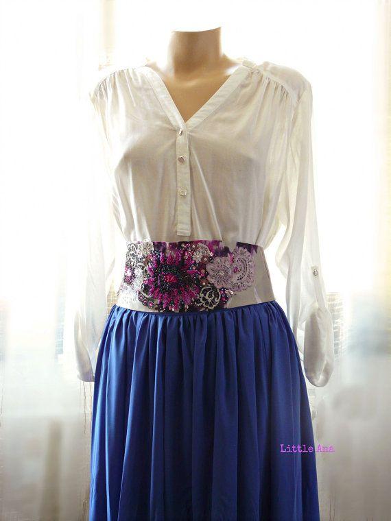 FREE SHIPPING - Bohemian belt, bridal wedding belt, bohemian weddings, floral belt, beaded belt, beige and purple, unique piece