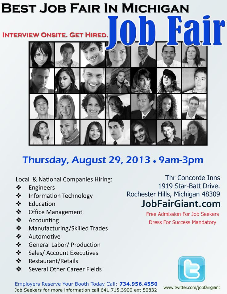 """Hired In Michigan Career Fair happening August 29. Recruiters want to interview experienced candidates, entry-level candidates, veterans, interns, blue-collar workers and college graduates.  If you are looking for a great career opportunity hiring employers from Oakland County, Wayne County and Macomb County will be onsite interviewing. """"THIS IS YOUR CHANCE TO BE HIRED""""  Submit your resume now at http://www.JobFairGiant.com and click Candidate Registration.  Employers call 734-956-4550"""