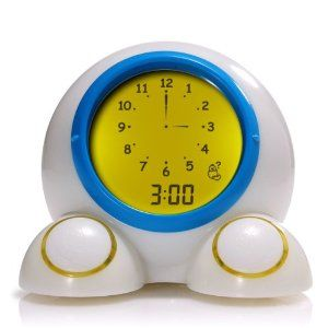 Teach Me Time Talking Alarm Clock and Nightlight! It also changes color when it's time to get up so you kid will stay in bed till morning!