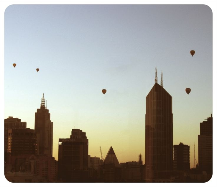 Early Morning Hot Air Balloons over the City