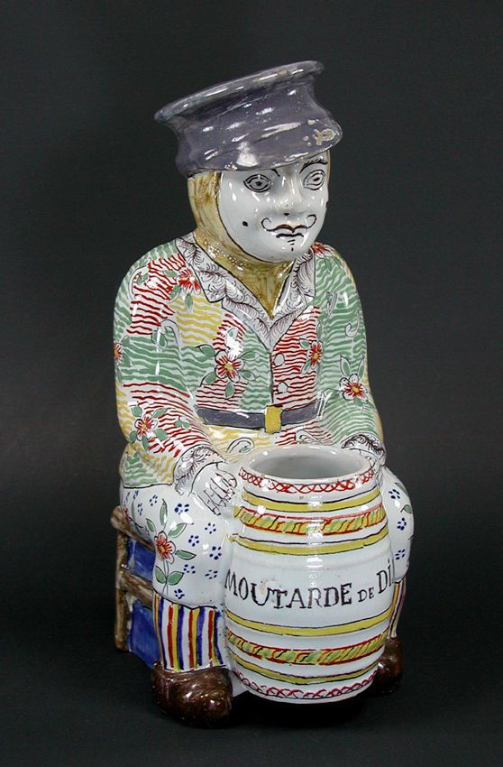 Antique French Faience Pottery Folk Art Figural Jacquot Style Dijon Mustard Pot #Faience
