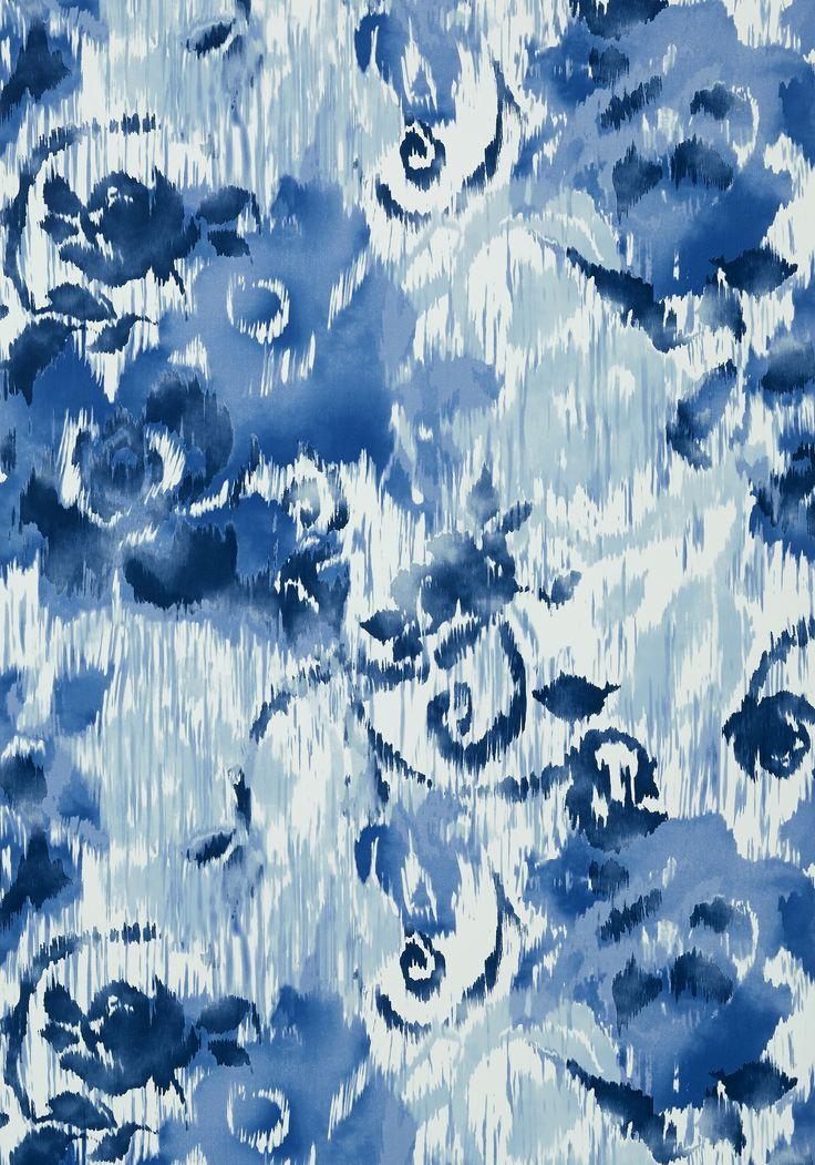 WATERFORD FLORAL, Blue, T24341, Collection Bridgehampton from Thibaut