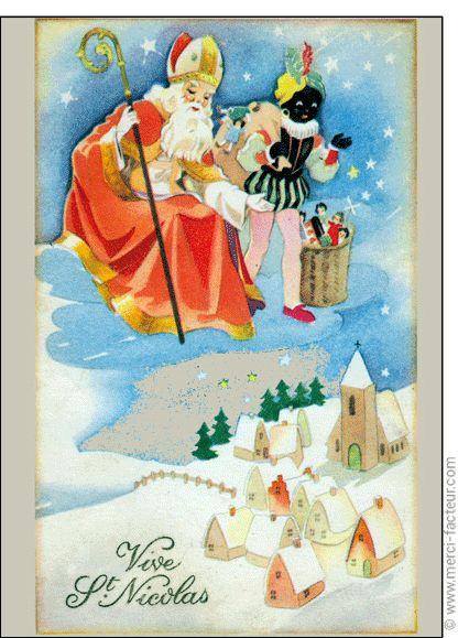 #Carte #SaintNicolas #stNicolas Carte Saint Nicolas au dessus d'un village pour envoyer par La Poste, sur Merci-Facteur !