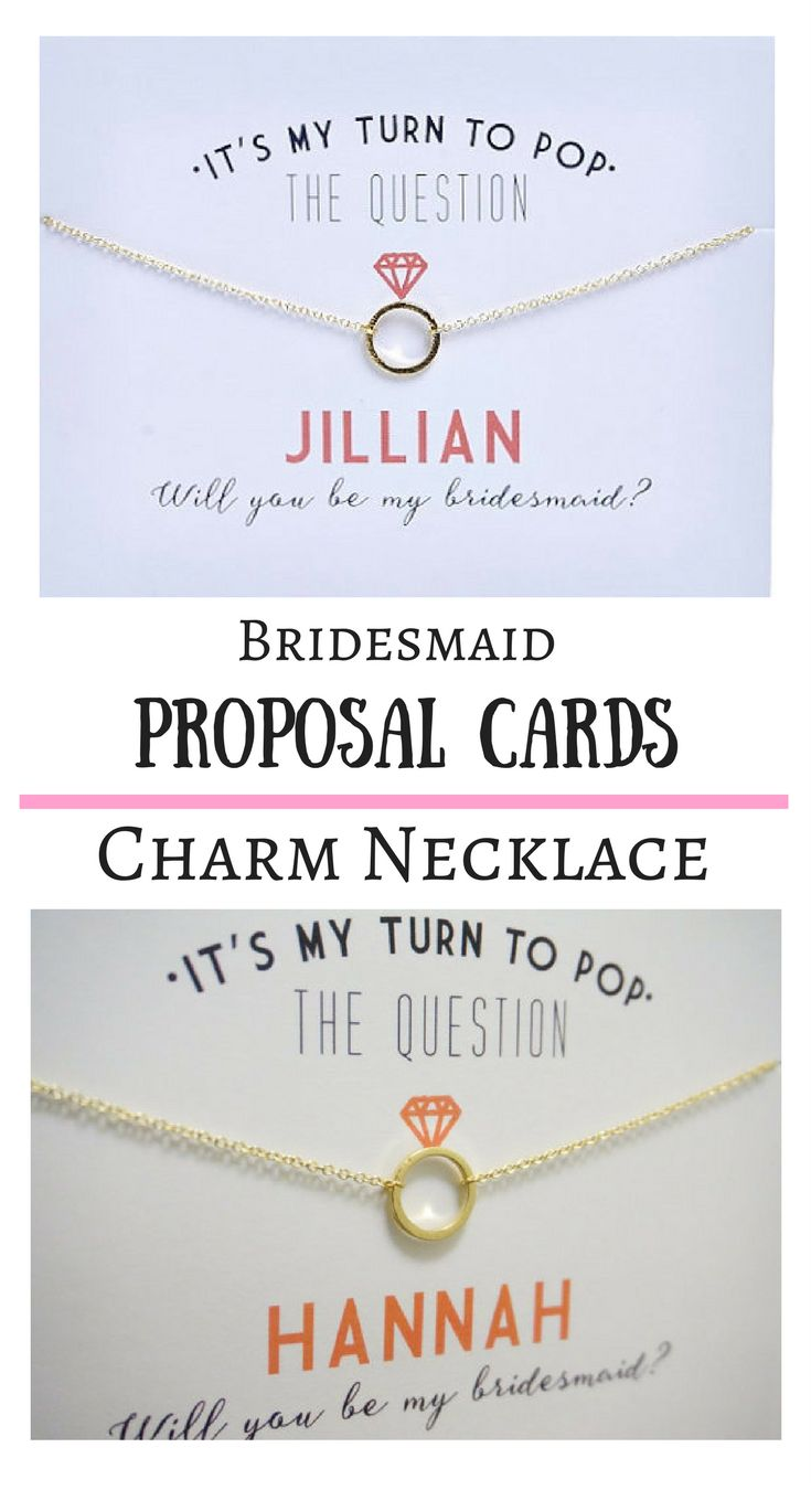 Bridesmaid charm necklaces for the cutest bridesmaid proposal! Premade and ready to go! I love the diamond on top of the ring. #affiliate #bridesmaidproposal