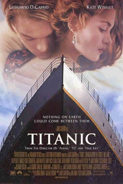 Titanic.  Leonardo DiCaprio and Kate Winslet are unlikely lovers on this doomed voyage.  They were beautiful and in love and I fell for the romance heart & soul.  Granted I knew what was going to happen but I enjoyed the stories that were being told.  I will admit that the ending still hit me hard, I cried like never before and then cried again.  I am a sap - it's genetic.  Great movie.