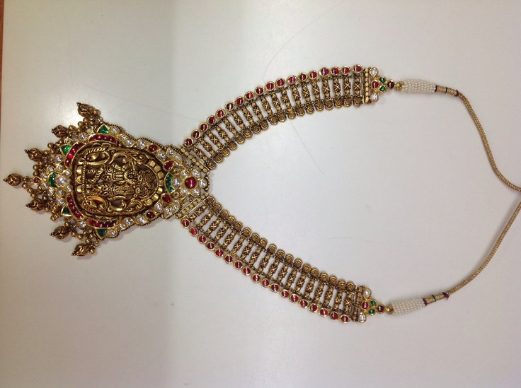 "Traditional Indian studded jewellery have crafting of Lord Krishna and Radhikaji, known as ""Temple collection"""