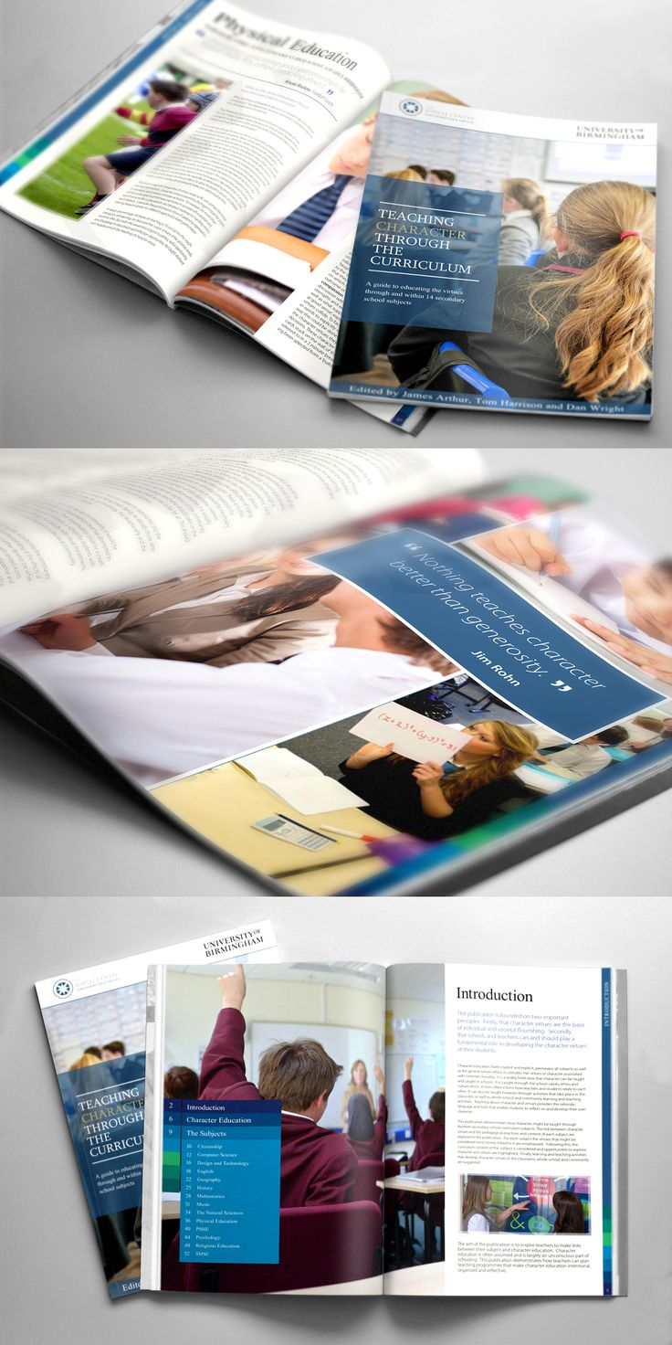 Teaching Character Through The Curriculum. #Design #GraphicDesign #PrintDesign #CreativeCauseUK #Magazine #Brochure #Publication #Educational #Resource