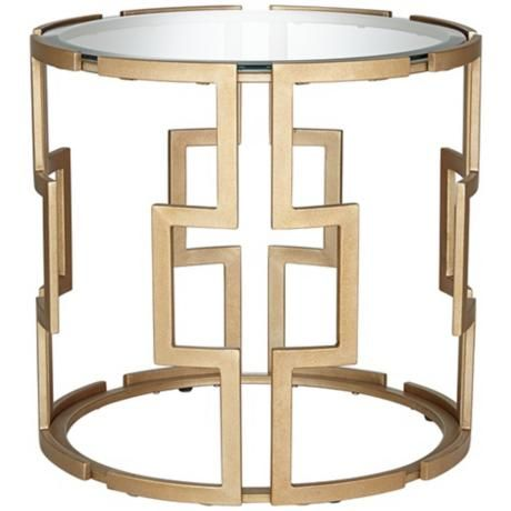 Geometric Tempered Glass and Gold End Table - LampsPlus
