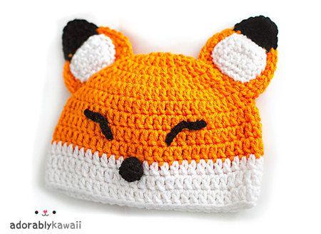 Sleepy Fox Baby Hat - PDF Crochet Pattern by Adorably Kawaii at Craftfoxes