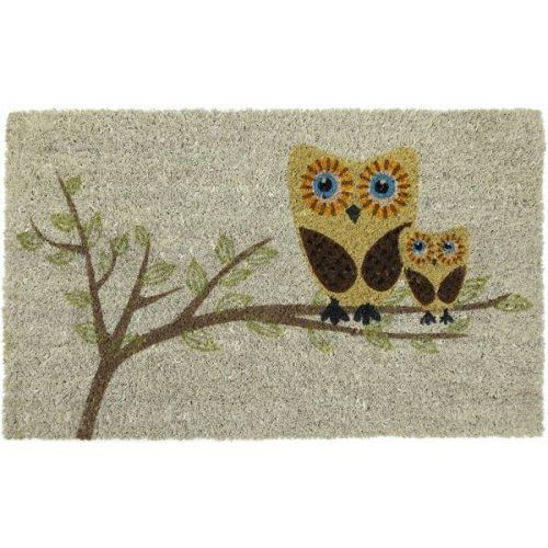 Give a Hoot Coir Nonslip Doormat, 17 x 28 Inch by Imports Unlimited. $20.99. Abrasive and effective. Give a Hoot Coir Nonslip Doormat. Features a design of 2 owls perched on a branch. Resists fading and running. Coconut fiber construction. Add some personality to the entrance of your home with this doormat. Fabricated from coir, it features a design with two owls perched on a branch stenciled in a fade- and run-resistant ink. The coconut fiber construction is very a...