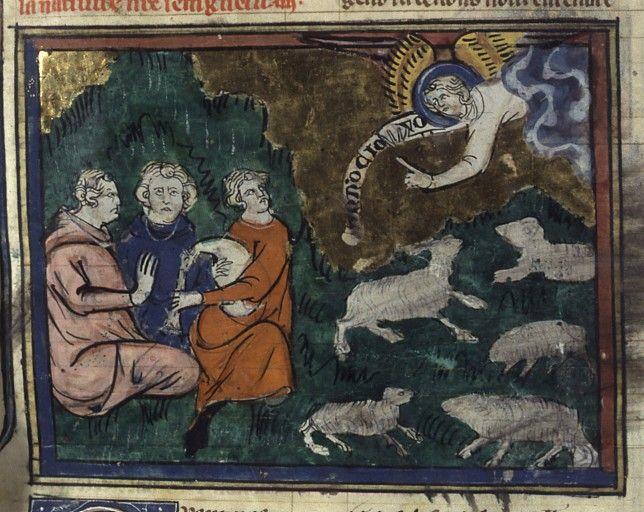 Français 183, fol. 6, Annonce aux Bergers vies de saints paris 14ème siècle (1er-2e quart)