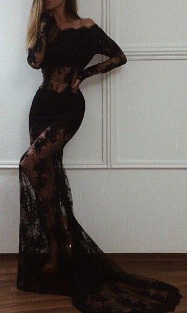 Black Prom Dress,Long Prom Dresses,Mermaid prom Dresses,Evening Dress Prom Gowns,Lace Long Sleeves Women Dress,prom dress