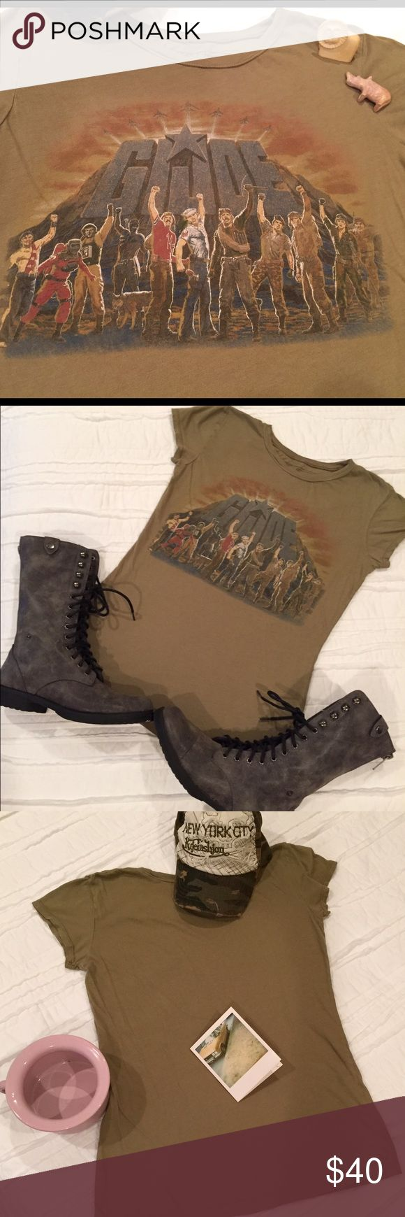 Go go ...GI JOE! T-shirt GI Joe CHEER Vintage style tee, Hasbro Trademark. They fought for freedom wherever there was trouble!  Great condition, no tears, spots, or unraveling.  Get those boots & utility jackets out...this would be perfect!  Boots for sale too! Shirts Tees - Short Sleeve