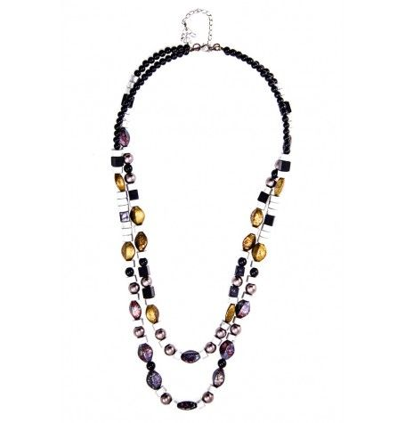 Ethnic yet modern describes this metallic bead and silver double strand necklace. $24