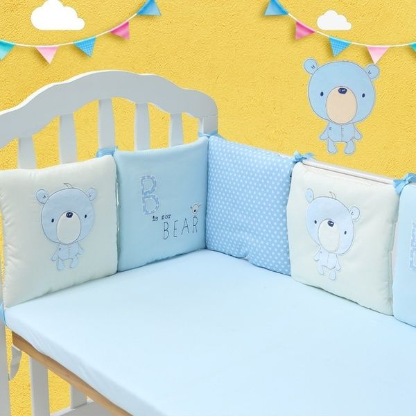 6pcs Lot Baby Bed Bumper In The Crib Cot Bumper Baby Bed Protector Crib Bumper Newborns Toddler Bed Bedding Set In 2020 Baby Bed Toddler Bed Set Cotton Baby Bedding