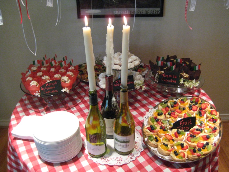 Italian Wedding Bridal Shower Wine Bottles with Taper Candles