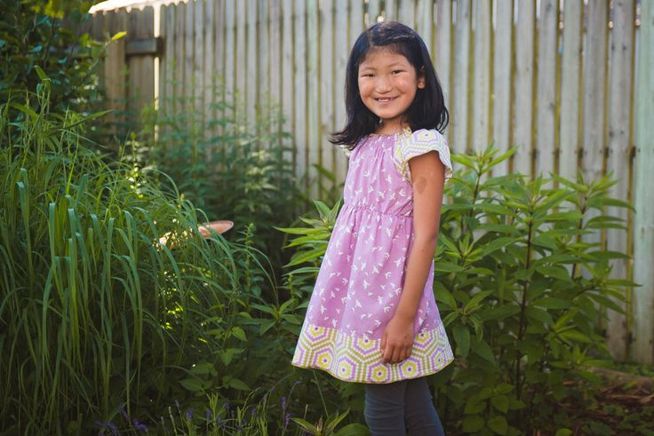 Violet birds in flight - Peasant tunic/dress with cap sleeve   - 2T - 7Y by GenerationsInStyle on Etsy
