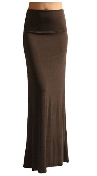 New Solid Banded Waist Foldover Maxi Skirt Brown