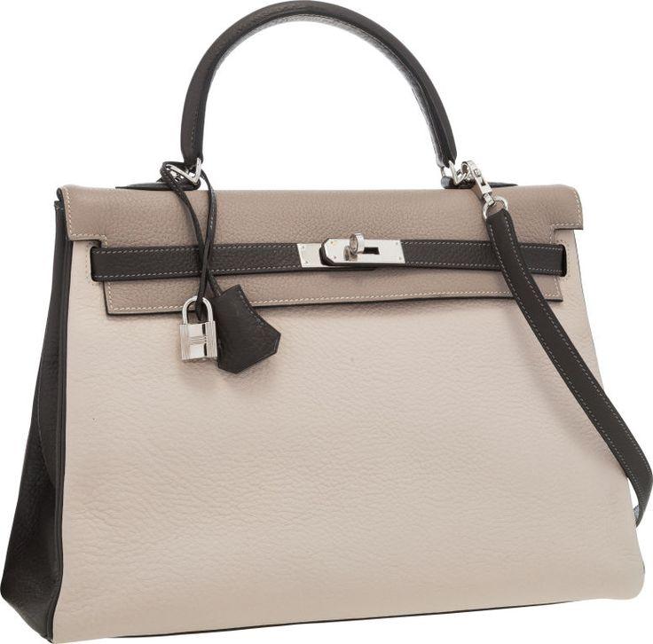 hermes shoulder bags - Hermes Special Order 35cm Gris Tourterelle, Graphite \u0026amp; Craie ...