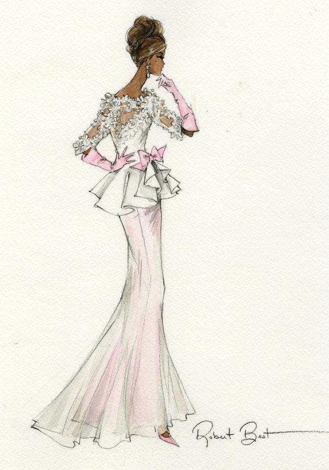 """Robert Best """"Pink & Ivory"""" Barbie sketch"""