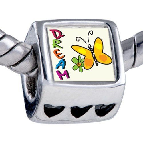 Pugster Silver Plated Photo Bead Dream Butterfly Beads Fits Pandora Bracelet Pugster. $12.49. Fit Pandora, Biagi, and Chamilia Charm Bead Bracelets. Unthreaded European story bracelet design. Hole size is approximately 4.8 to 5mm. It's the photo on the heart charm. Bracelet sold separately