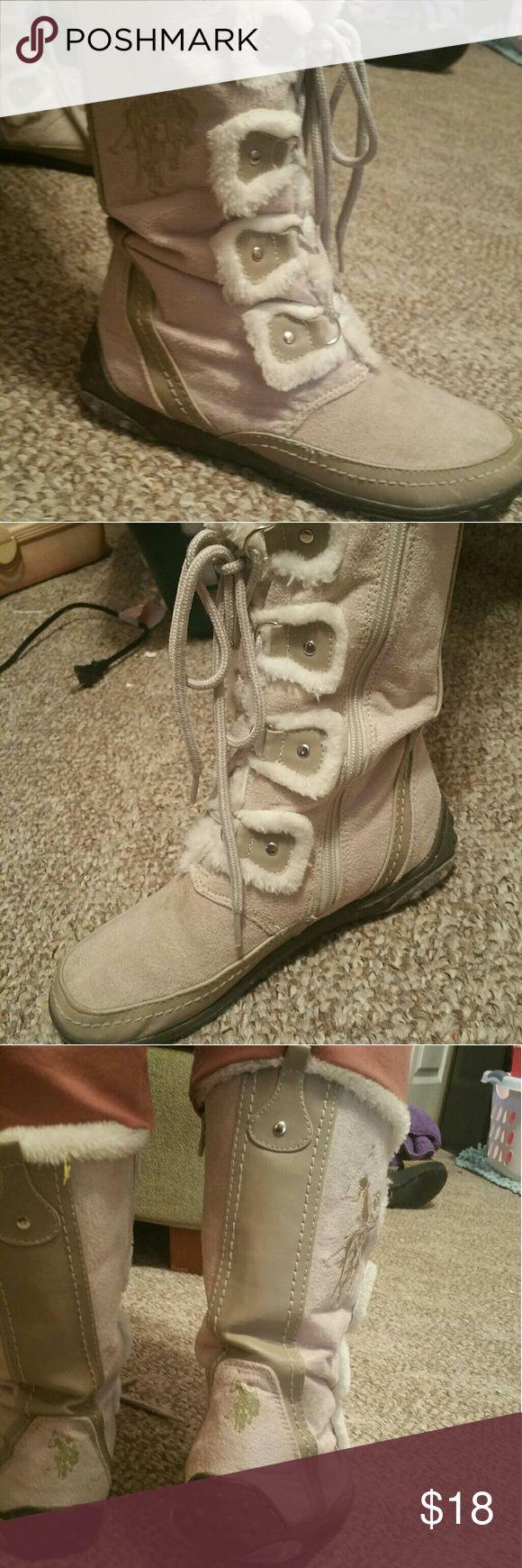 US POLO ASSOCIATION  Ralph Lauren boots Tan & beige winter tie in front zip up sides faux U.S. Polo Assn. Shoes