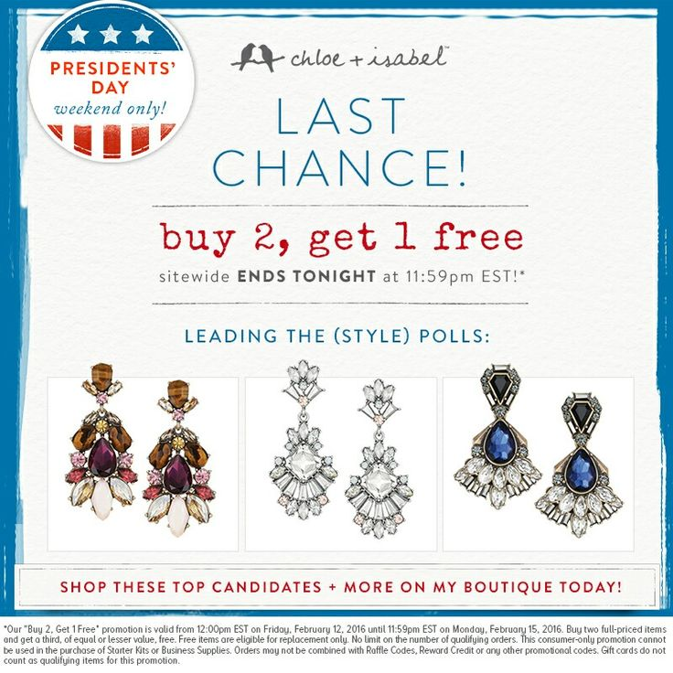 Tonight is the last night for our presidents day sale! Get your sparkle and shine on with #chloeandisabel #jewerly #presidentsday #sale today! Www.sparkleshinecandi.com remember 50% of all proceeds will go towards donating to American Heart Association! Thank you for your donation. #americanheartassociation #love #donate