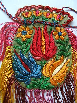 Antique Hungarian Silk Embroidered Matyo Pouch