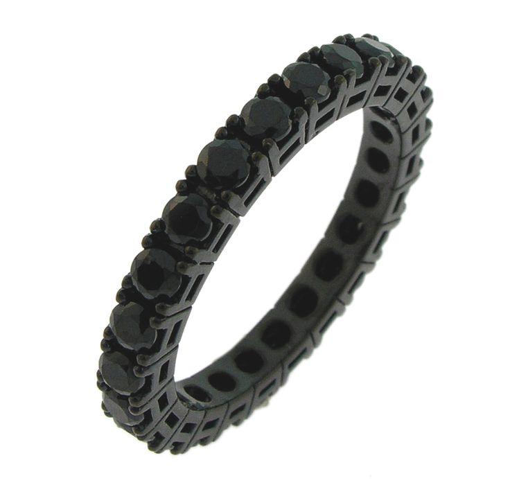 anello nero con zirconi neri