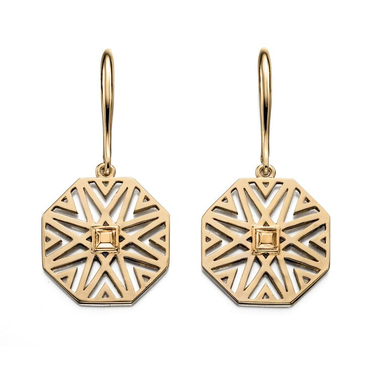 Designer Large Octagonal Cut Out Pattern Gold Earrings by Fiorelli - From the new Fiorelli Costume Autumn Winter collection, these statement earrings is all about making the ordinary extraordinary. Produced from white or yellow alloy, this piece comes packaged in a beautiful Fiorelli gift pouch: http://ow.ly/XA2tk