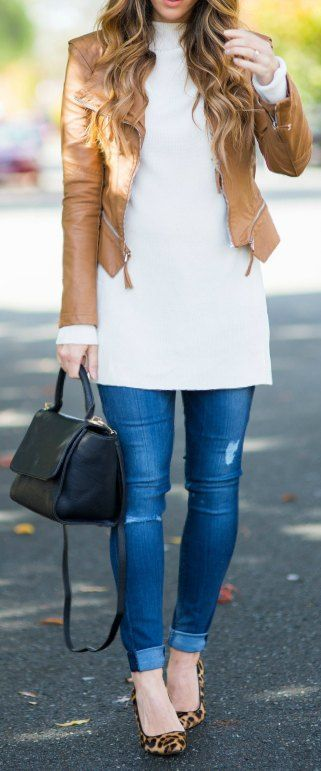 Leather Jacket | White Sweater | Hudson Jeans via Zappos | Heels | Black Bag | best denim | casual fall outfits | how to style denim jeans | fall style | fall outfit ideas | outfit ideas for fall | fashion tips for fall | style ideas for fall | cool weather fashion || The Girl in the Yellow Dress #fallfashion #denimstyle #jeans #fallstyle