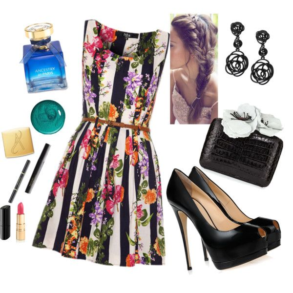 Summer Flower Dress by veradediamant on Polyvore featuring polyvore, moda, style, Giuseppe Zanotti, Nancy Gonzalez, Oscar de la Renta and Urban Decay