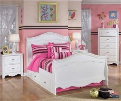 Ashley Furniture Exquisite Trundle Sleigh Bed | Kids Exquisite Full Sleigh Bed with Trundle Bed in White finish | Ashley Kids Furniture Exquisite Collection B188