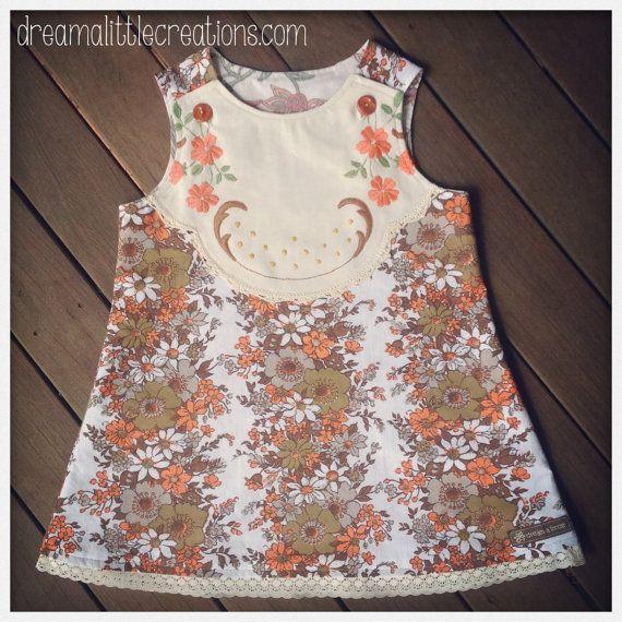 Upcycled vintage fabric aline pinny dress by dreamalittleshoppe