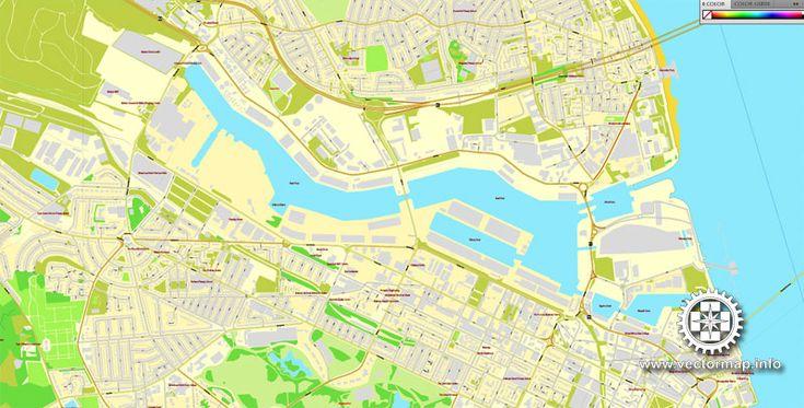 Liverpool + Birkenhead, England, printable vector street City Plan map V.2, full editable, Adobe ...