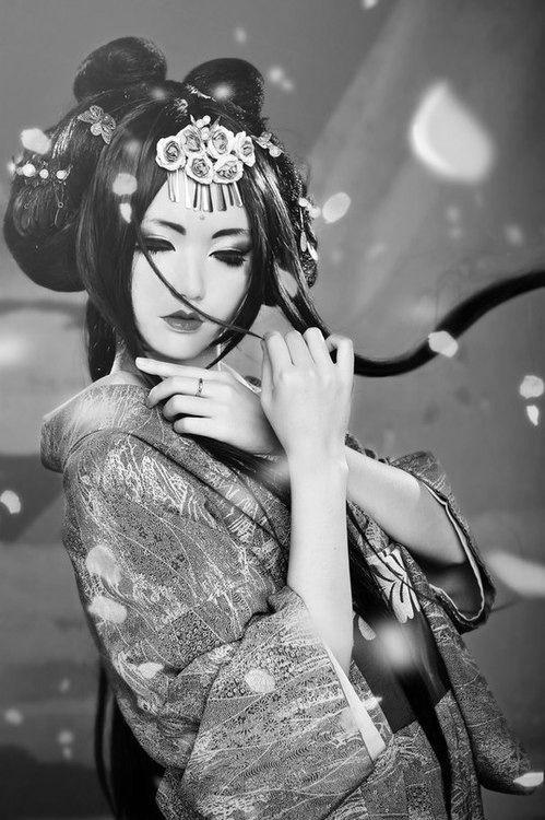 Japanese model posing in kimono
